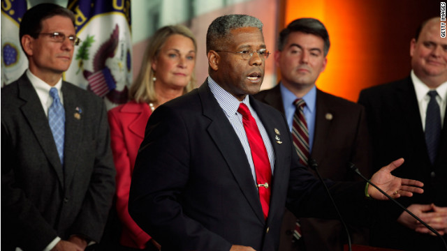 U.S. Rep. Allen West (center, at a 2011 news conference about payroll taxes) recently said he believes up to 81 Democrats in the U.S. House are communists.