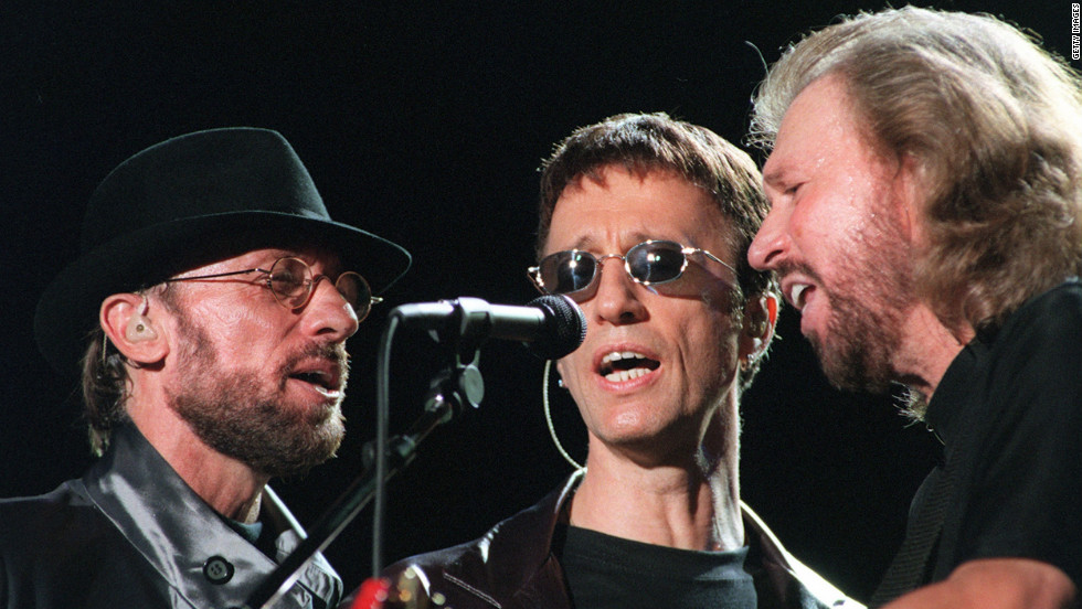 "The Bee Gees perform during the ""One Night Only"" concert at Stadium Australia in Sydney, Australia, in March, 1999."