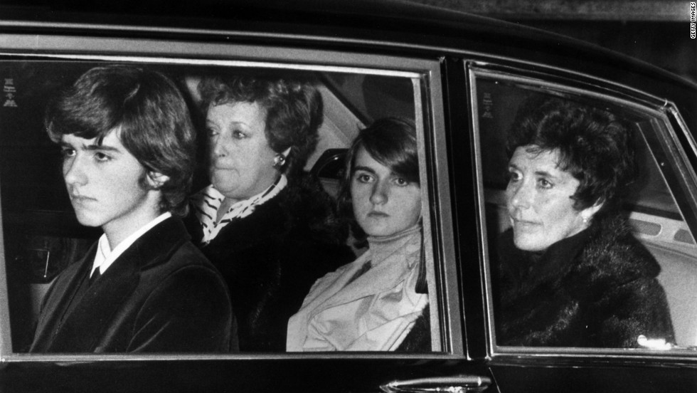 The Hill family arrive at Graham's funeral at the Abbey of St. Albans, Hertfordshire, with Damon pictured left. The racing legend died on November 29, 1975, when the plane he was flying crashed in North London.