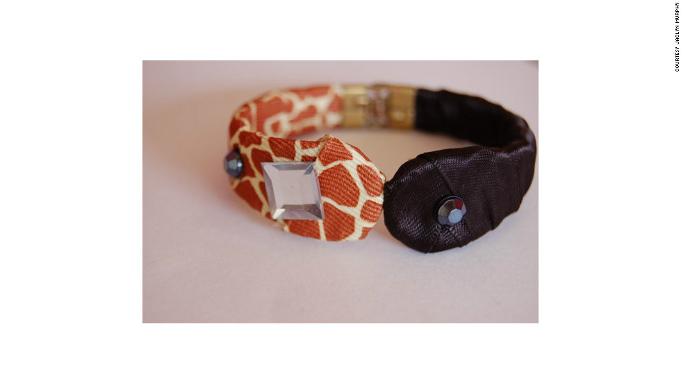 "Jaclyn Murphy created this bracelet with a vintage brass cuff, then styled it with animal-print fabric and ribbons. ""I think using a splash of animal print is always a good thing,"" she said. Murphy creates a variety of fashion accessories for her Esty store, luniacstyle."