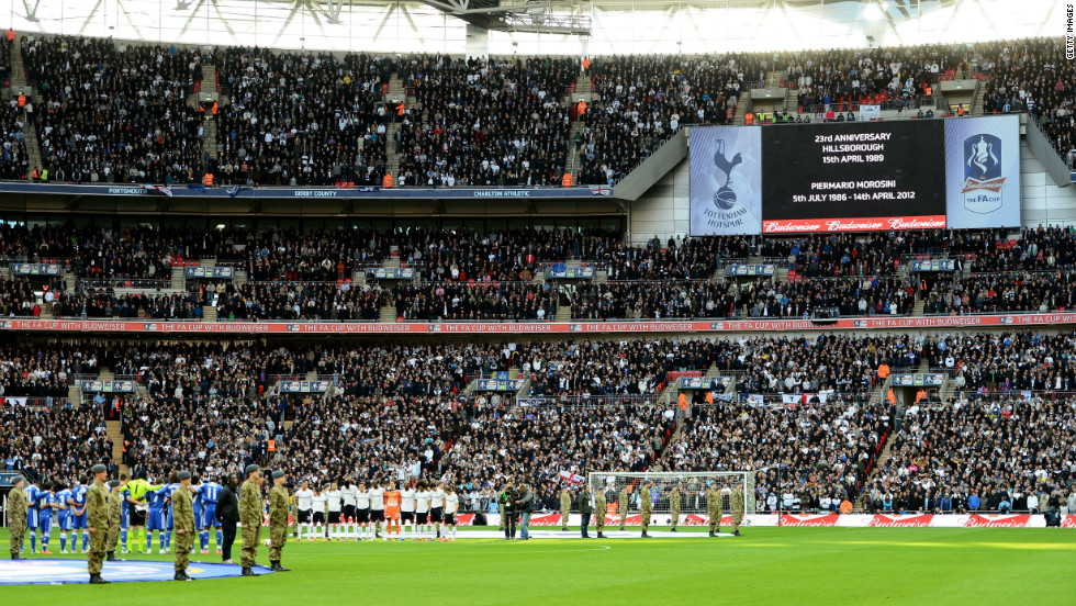 Teams across Britain held a one-minute silence for Morosini and the 23rd anniversary of the Hillsborough disaster. Tottenham Hotspur and Chelsea players paid tribute to the 96 people who died in the fatal crush during a match between Liverpool and Nottingham Forest on April 15, 1989.