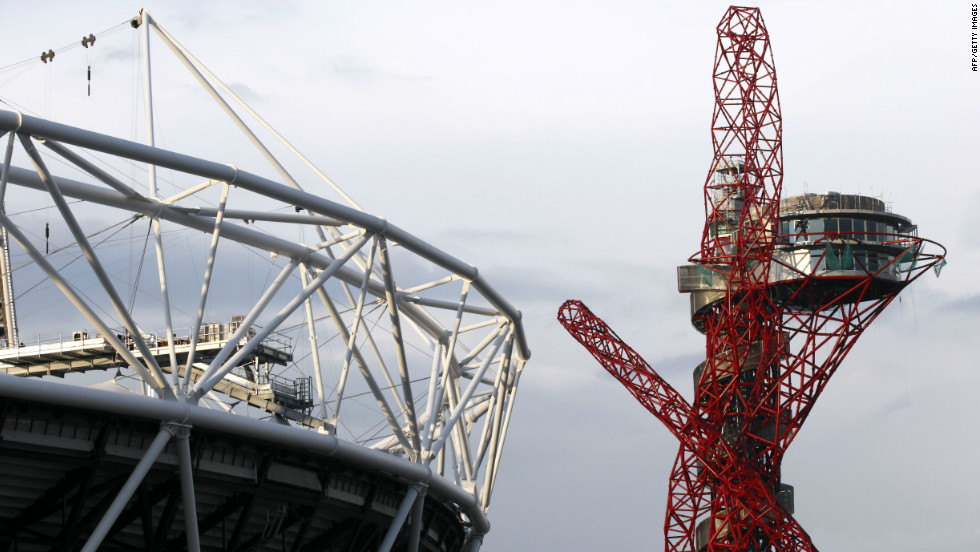 The Arcelor Mittal Orbit viewing platform seen next to the Olympic stadium. World-renowned sculptor Anish Kapoor designed the skyscraping sculpture that stands at 115 meters high.