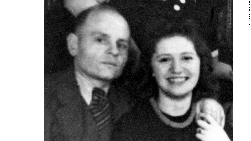 Halina Wind with the Catholic sewer worker Leopold Socha on her birthday, March 1, 1946, in Gliwice, Poland, two months before he died.