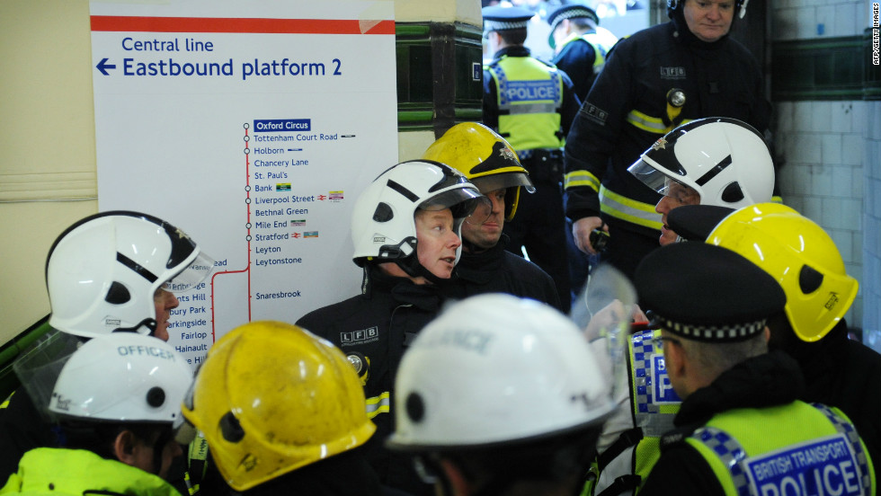 Members of the emergency services take part in a London Olympics security drill entitled Exercise Forward Defensive on February 22, 2012. The exercise was to test responses to a possible terrorist incident during the Games.