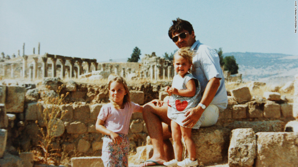 Pippa Middleton pictured with her sister Kate, left, and father Michael, in Jerash, Jordan. The Middleton family lived in Amman, Jordan for two and a half years.