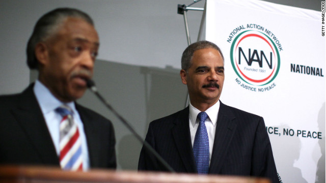 Eric Holder, right, faces criticism for his appearance last week at an annual convention held by the Rev. Al Sharpton's group.