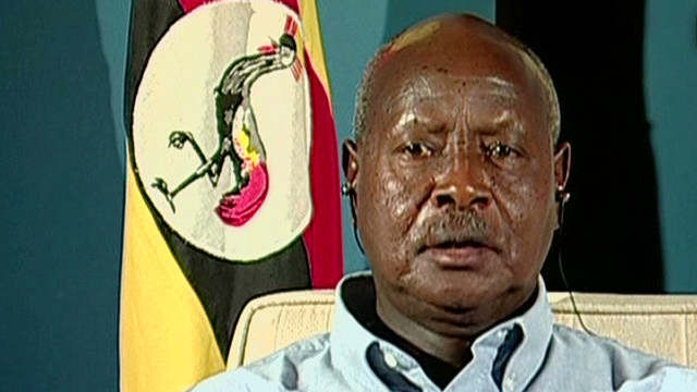 The two men arrested are trying to defeat incumbent Yoweri Museveni, shown here, in Uganda's next presidential election.