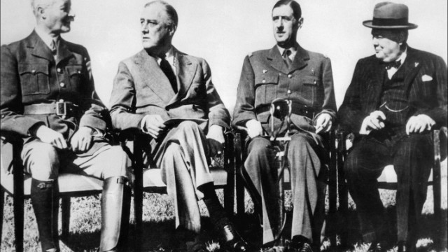 France's Charles de Gaulle, second from right in 1943, opposed UK entry into the Common Market.