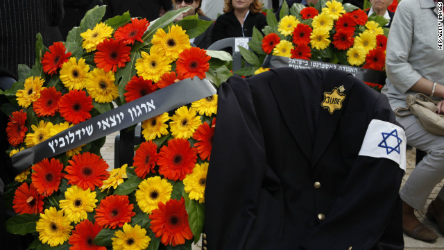 A jacket belonging to Polish-born Israeli Holocaust survivor at the Holocaust Museum in Jerusalem on April 19, 2012