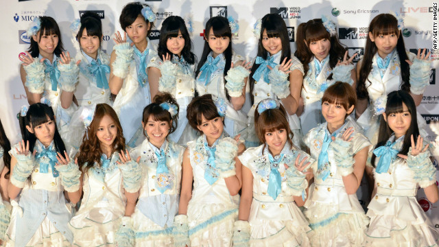 Japanese all-girl pop group AKB48. The music industry is clamping down on illegal downloads.