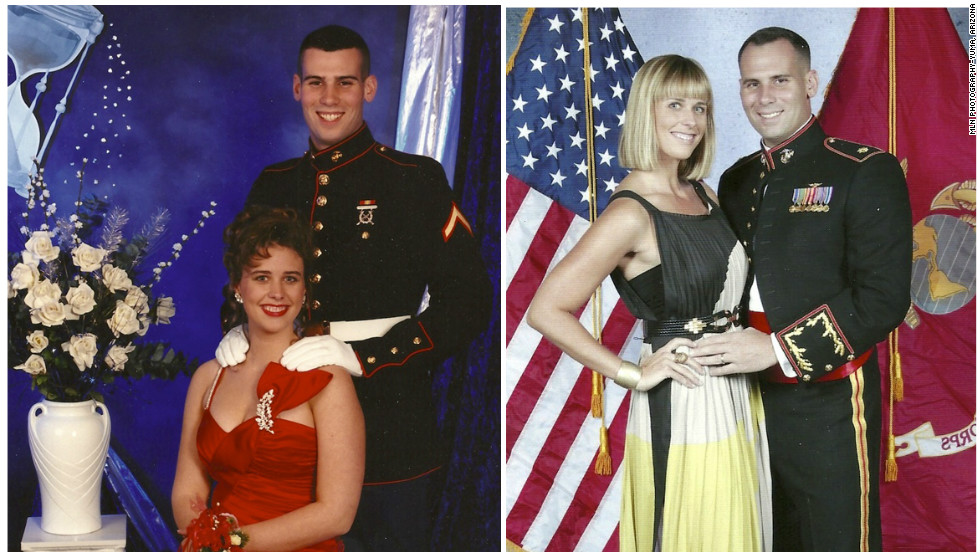 "Katherine Steele married her prom and Marine Ball date in 1997. They are pictured here together at the Marine Corps. Air Station 236th Birthday Ball in 2011. ""When you go to prom with someone I dont think the chances of staying married are very high,"" she said. ""I can pull out these photos and show the kids and say look at how much we've gone through."""