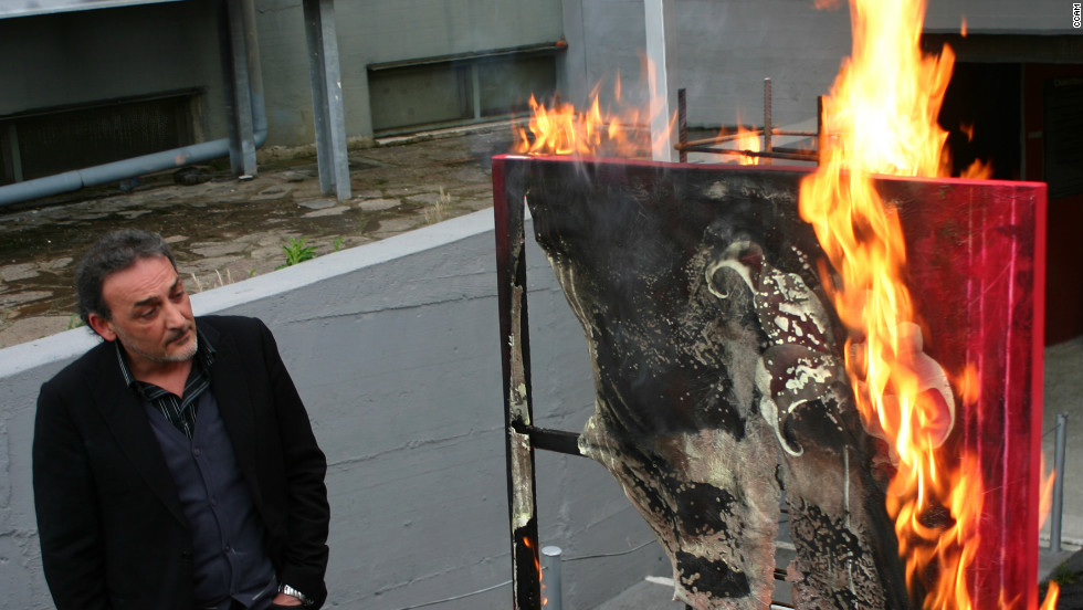 A museum in Naples is burning its artworks to protest austerity cuts by the Italian government.