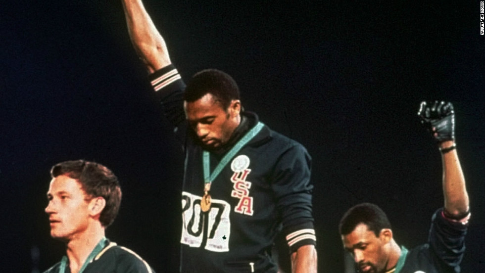 Tommie Smith (center) and John Carlos (right) of the US launched one of the most famous sporting protests in history on the podium at the 1968 Mexico Olympics with their Black Power salute. Australian sliver medalist Peter Norman (left) also stood in protest, wearing a human rights badge on his track suit. The act harmed his career in Australia.