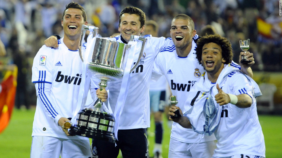 Ronaldo and his Real teammates celebrate their Copa Del Rey final win over Barcelona last season -- the only major trophy won by  Mourinho during his two seasons in Madrid.