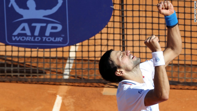Serbian tennis star Novak Djokovic looks to the sky after beating world No. 7 Tomas Berdych on Saturday.