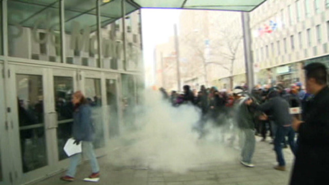Violent student protest in Montreal