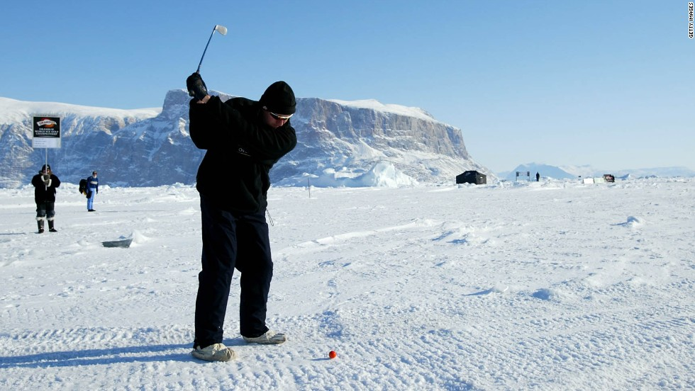 The World Ice Golf Championship takes place in Greenland in temperatures which plummet to -50 Celsius (-58 Fahrenheit).