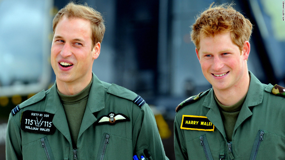 Princes William and Harry are seen at a Royal Air Force base near Shrewsbury in central England on June 18, 2009.