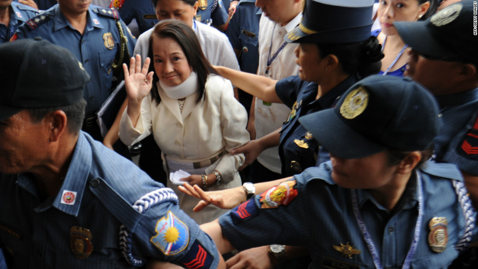 President of the Philippines before Benigno Acquino III,  Arroyo has pleaded not guilty to charges brought against her of rigging the 2007 senatorial elections. Arroyo's family have been hounded by accusations of corruption.