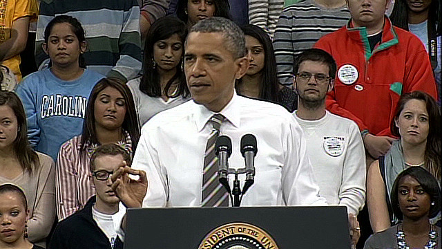 Obama speaks about the student loan issue at the University of North Carolina this week.
