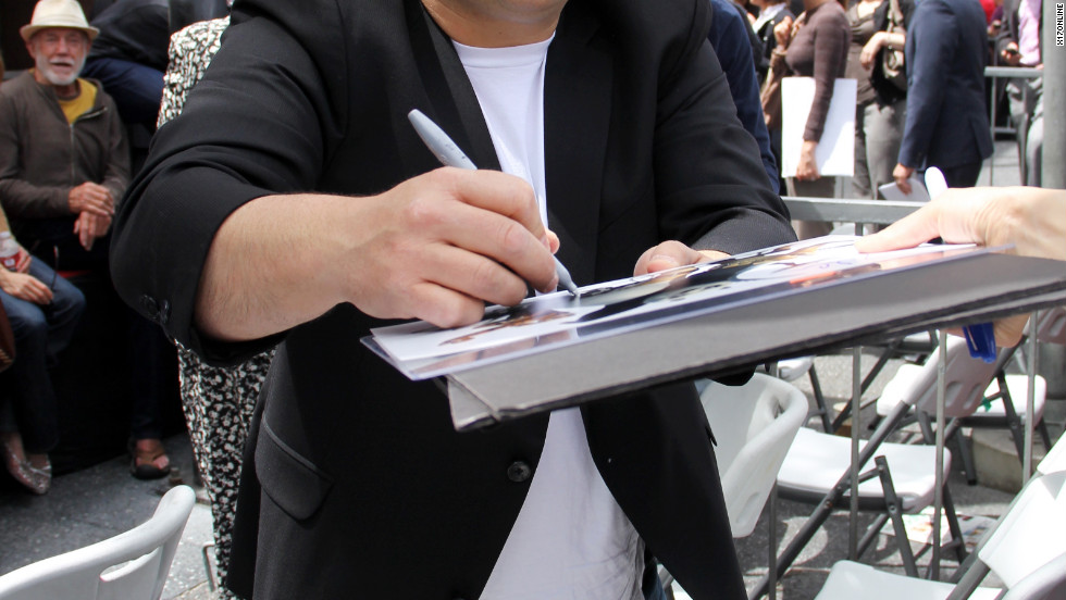 Jack Black signs autographs at an event in Hollywood.