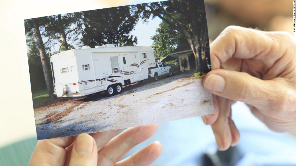 The Workmans were staying in this RV in November 2004 after Hurricane Ivan. When Cox entered, James Workman shot him to death.