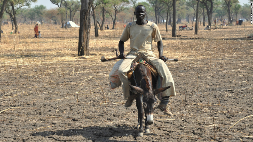 Hussein, who is disabled and unable to walk, travelled from the Blue Nile region of Sudan to Jamam on a donkey.