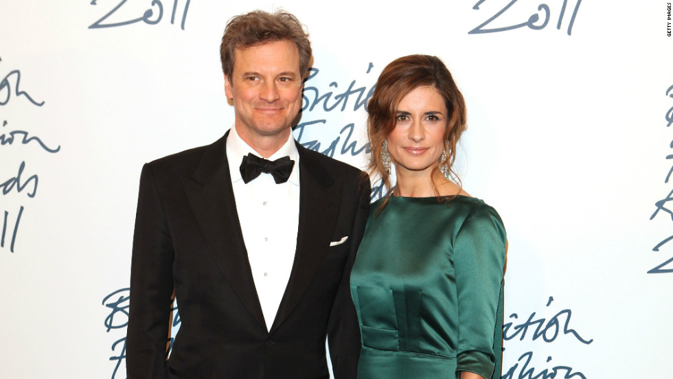 Firth wearing a dress made from upcycled fabrics, created by British fashion designer Henrietta Ludgate.