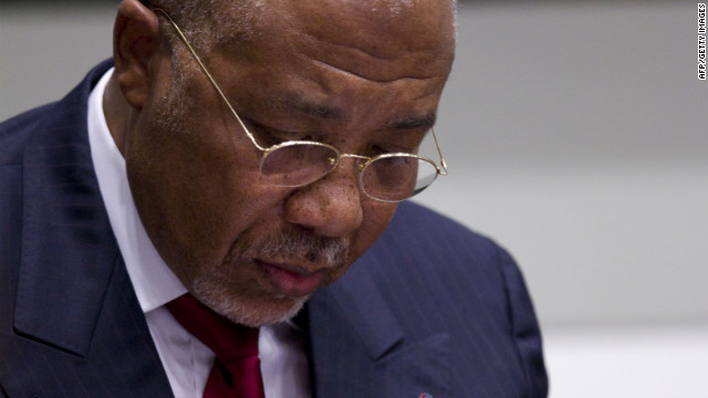 Former Liberian President Charles Taylor waits for the start of the judgment hearing of his trial on April 26, 2012.