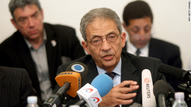 Front-runner in the Egyptian presidential election Amr Mussa speaks at a press conference in Cairo this week.