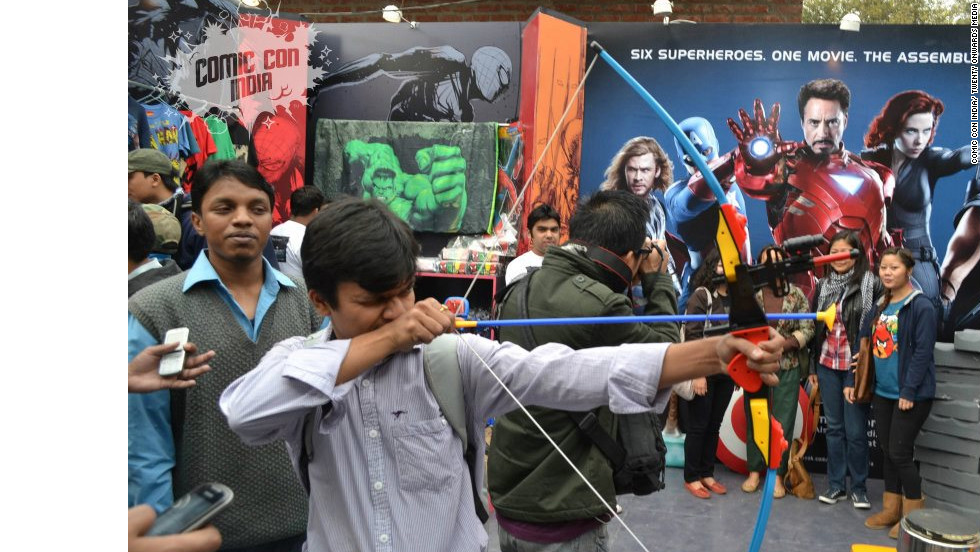 "Fans at ""The Avengers"" stall at the 2nd Annual Comic Con India in New Delhi."