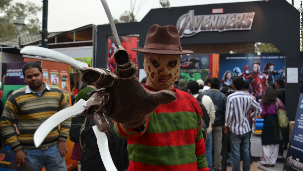 A cosplayer dresses as Freddy Krueger at the 2nd Annual Comic Con India in New Delhi.