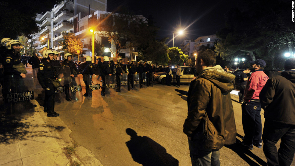 On May 6 Greece will have its first election since it was forced to take a bailout two years ago. Here, riot police guard the area where PASOK leader Evangelos Venizelos gave a speech at an rally in Athens on April 19, 2012.