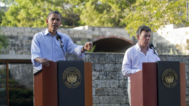 President Obama and Colombian President Juan Manuel Santos at the Summit of the Americas in Cartagena, Colombia, on April 15.