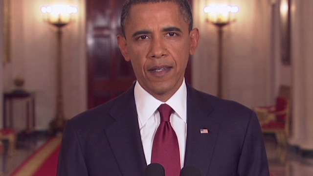 President Barack Obama announces the death of Osama bin Laden a year ago.