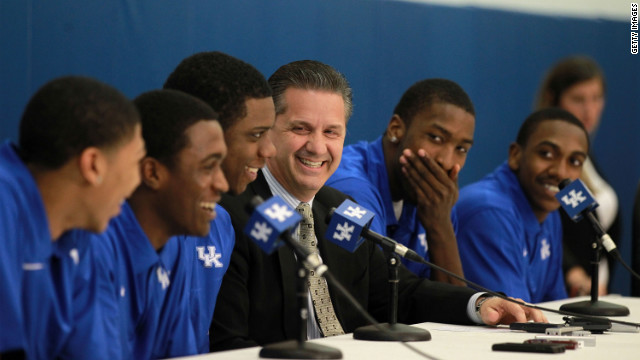 From left: Kentucky's Anthony Davis, Doron Lamb,Terrence Jones, coach John Calipari, Michael Kidd-Gilchrist, Marquis Teague.