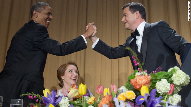 Host Jimmy Kimmel, right, greets President Obama after Kimmel's speech at the White House Correspondents' Dinner.