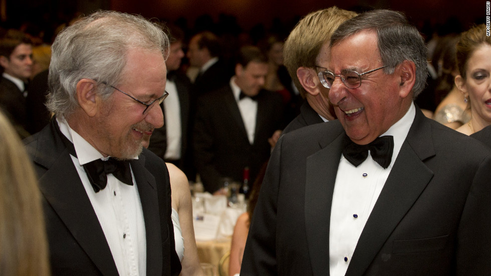 Director Steven Spielberg, left, laughs with Secretary of Defense Leon Panetta.