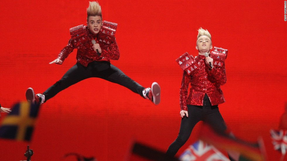 The identical twin brothers in Irish duo Jedward are known for their towering blond coifs and outrageous costumes. They represented Ireland at Eurovision in 2011 and 2012.