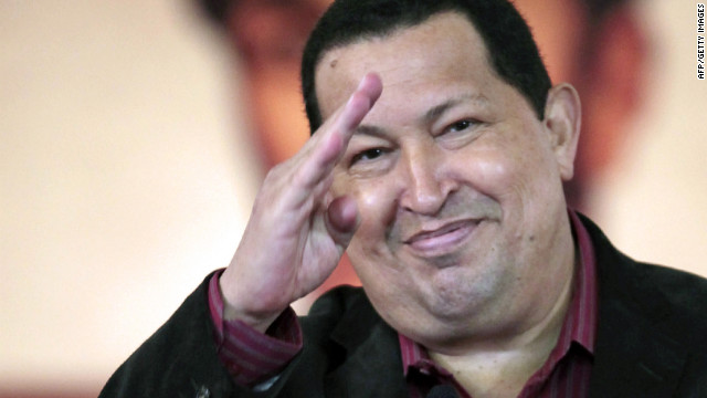 "Venezuelan President Hugo Chavez gestures after signing the new labour law in Caracas on April, 30, 2012. Chavez said Monday he was returning to Cuba for another round of radiation treatment in his battle with cancer, which resurfaced earlier this year. Chavez also championed Venezuela's ""immediate"" withdrawal from the ""infamous"" Inter-American Commission on Human Rights (IACHR), which the US, he denounces, uses ""against"" his country. AFP PHOTO/PRESIDENCIA RESTRICTED TO EDITORIAL USE - MANDATORY CREDIT ""AFP PHOTO /PRESIDENCIA"" - NO MARKETING NO ADVERTISING CAMPAIGNS - DISTRIBUTED AS A SERVICE TO CLIENTSHO/AFP/GettyImages"