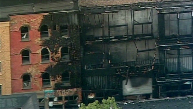 Perry studios facade damaged from fire