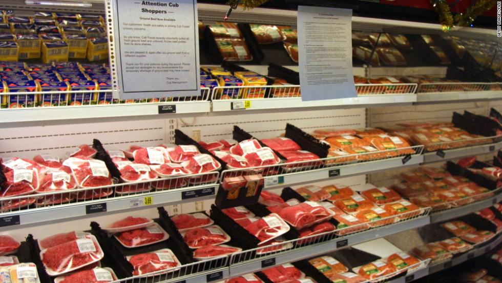 382830 03: An informational notice regarding replacement ground beef hangs near a food cooler at a Cub Foods grocery store December 4, 2000 in Niles, IL. The nation''s tenth-largest retail supermarket chain, SuperValu Inc., has voluntarily recalled ground beef products from Cub Foods stores and other markets in the Midwest for possible E. coli contamination after at least 22 people reported becoming ill, the U.S. Agriculture Department (USDA) reported. (Photo by Tim Boyle/Newsmakers)