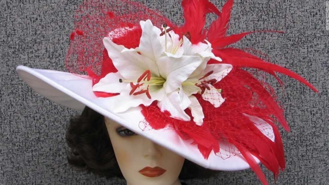 "Siverson's special wire design within the brim of each of her hats allows for them to be easily reshaped once customers receive them. This ""Gentle Breeze"" hat showcases her characteristic ""sexy swoop."""
