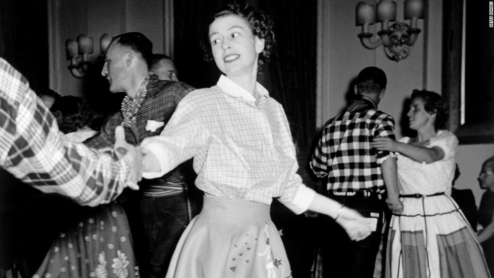 Princess Elizabeth enjoys a square dance held in the honor of the royal couple who were in Canada on a state visit in 1951.