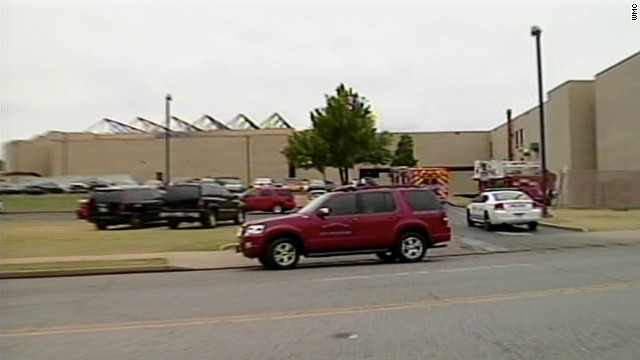 Emergency vehicles are parked outside Craigmont High School in Memphis, Tennessee, on Thursday.