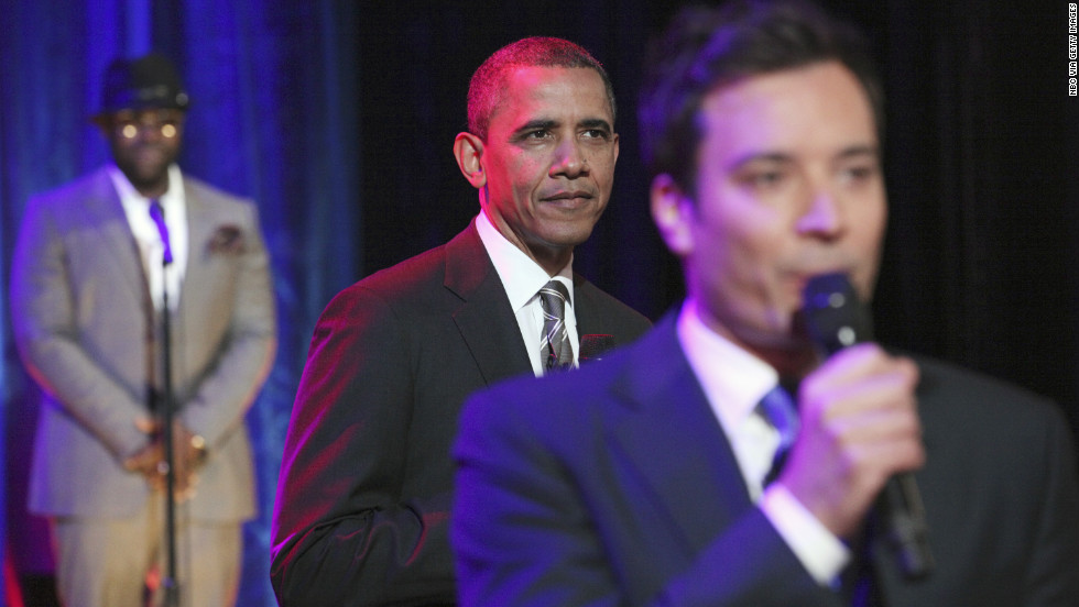 "President Barack Obama joins ""Late Night"" host Jimmy Fallon and The Roots to ""slow jam"" the news on April 24 at the University of North Carolina at Chapel Hill."
