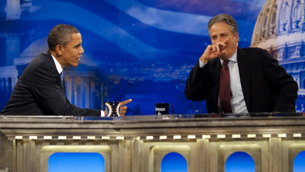 "Obama spars with Jon Stewart on ""The Daily Show"" on October 26, 2010. He was the first sitting president to appear on the satirical television show."