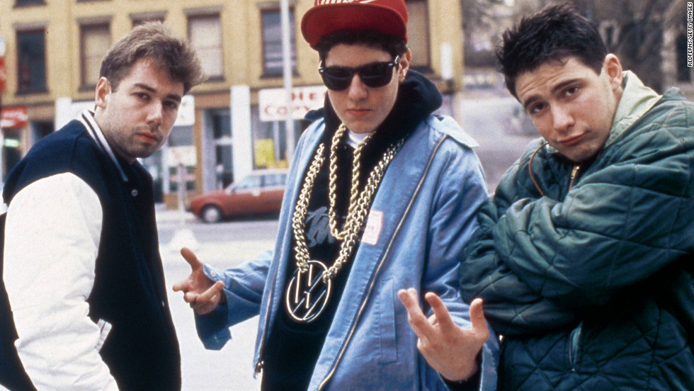 "Yauch, left, hangs with fellow Beastie Boys members Mike ""Mike D"" Diamond and Adam ""Ad-Rock"" Horovitz."