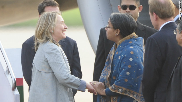 Bangladeshi Foreign Minister Dipu Moni welcomes US Secretary of State Hillary Clinton to Dhaka on March 5, 2012.