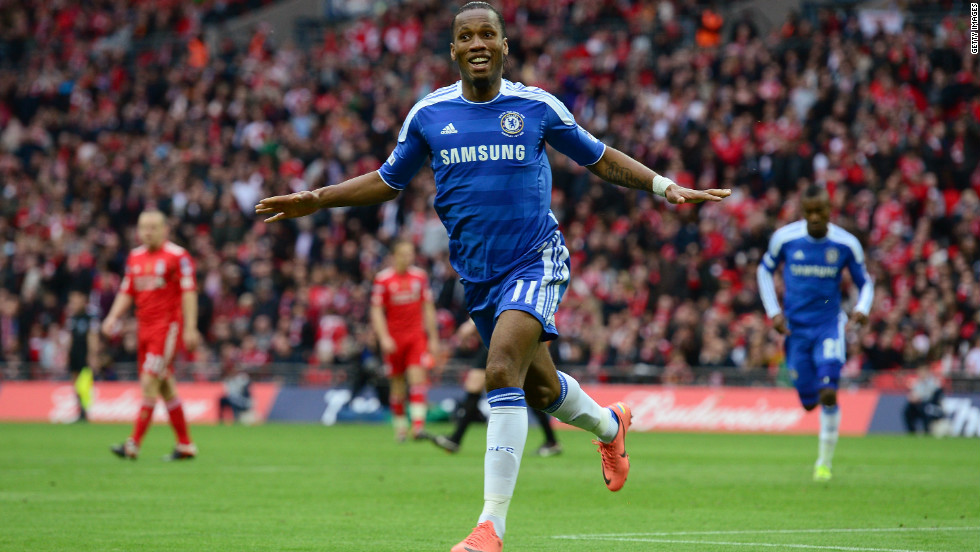 Drogba celebrates after doubling Chelsea's lead, following up a first-half goal by Ramires. Both players scored in the Champions League semifinal matches against Barcelona.